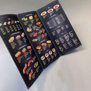 меню вкладыш суши с ламинацией