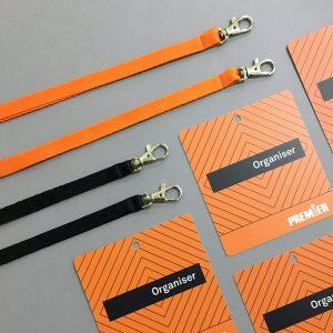 Шнурки для бейджа с карабином черные и оранженвые